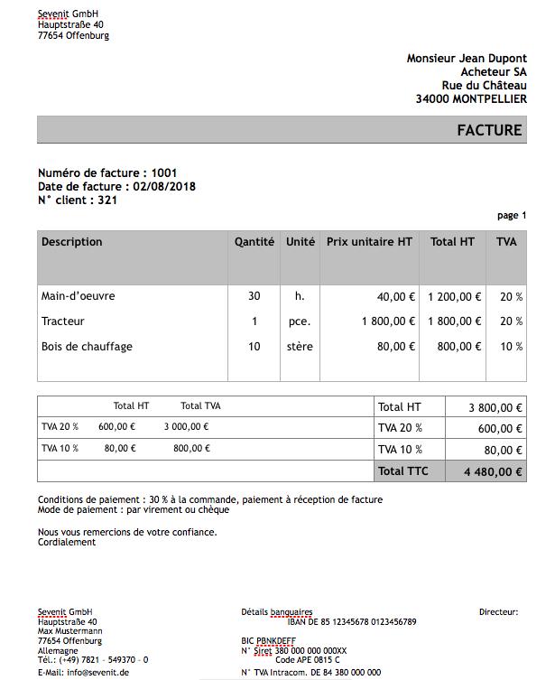 modèle de facture gratuit sevdesk