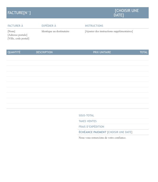 modèle facture microsoft office